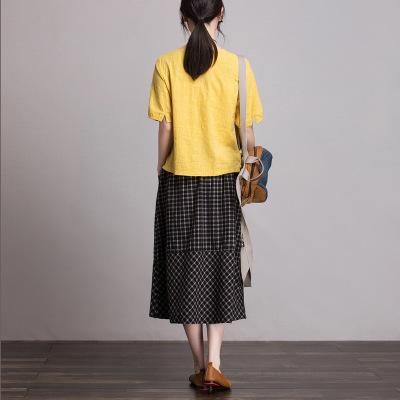 váy Bán buôn retro mịn bất thường cotton và váy lanh nữ mùa hè đã mỏng một từ váy 2762 một thế hệ