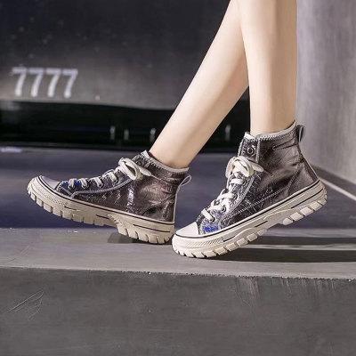 Giày GuangDong Giày nữ cổ điển Giày cao cổ điển Hàn Quốc Giày trắng xu hướng giày nhảy đường phố hi