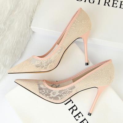 Giày da một lớp 1853-1 Châu Âu và Hoa Kỳ Giày cao gót nữ mỏng, gợi cảm, giày cao gót đế cao, miệng n