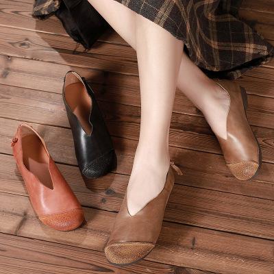 giày bệt nữ Giày da chính gốc Quảng Châu thoải mái bằng phẳng thoải mái giản dị 2019 mùa thu giày nữ