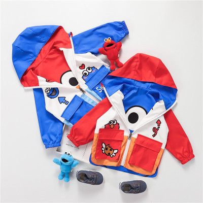 Áo khoác trẻ em Áo khoác trẻ em mới trùm đầu Sesame Street áo hai dây trẻ em hoạt hình áo khoác mùa