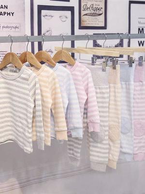 Đồ Suits trẻ em Bộ đồ ngủ mùa thu đông 2019 cho bé trai hai bé trai và bé gái sọc cao eo thiết kế đồ