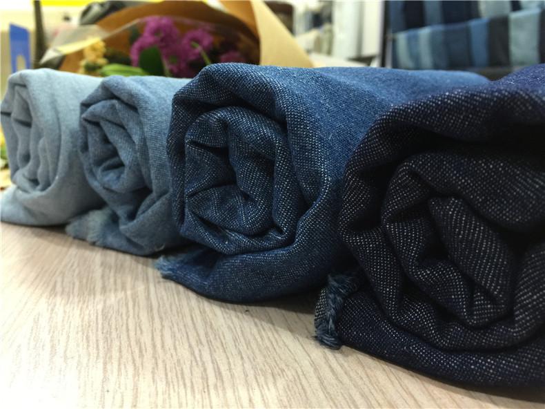 HONGFENG Vải Jean Nhà máy trực tiếp 16s giặt quần áo cotton denim Vải trẻ em Hàn Quốc vải có thể giặ