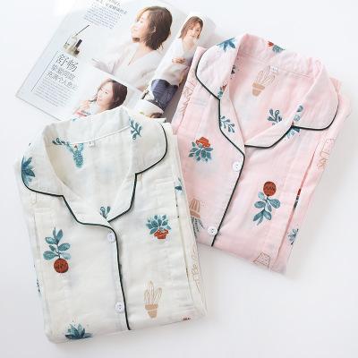 Trang phục trong tháng (sau sinh) Mùa hè mới gạc tháng quần áo nữ cotton cho con bú cho con bú quần