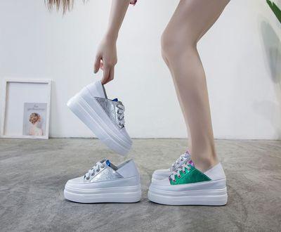 giày bánh mì / giày Platform Giày nữ mới đế dày màu trắng đế giày tăng Giày phiên bản Hàn Quốc của g