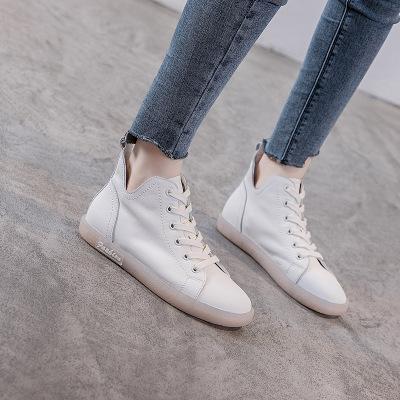 Giày nữ hàng Hot Mùa thu mới da retro gân mềm đế cao để giúp giày nữ nhỏ giày trắng đế bằng Giày nữ