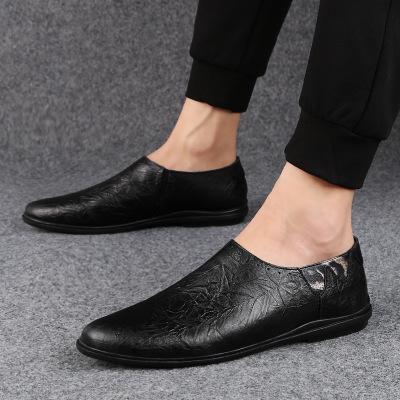 Giày mọi đế thấp Giày thông thường Giày đậu Hà Lan cho nam lớp da đầu tiên mùa xuân và mùa thu Anh G