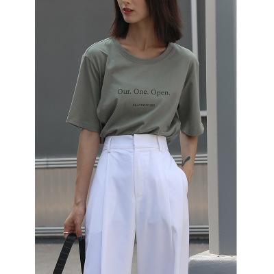 áo thun Mùa thu 2019 phiên bản Hàn Quốc mới của áo sơ mi dệt kim đơn giản áo thun tay ngắn Áo thun n