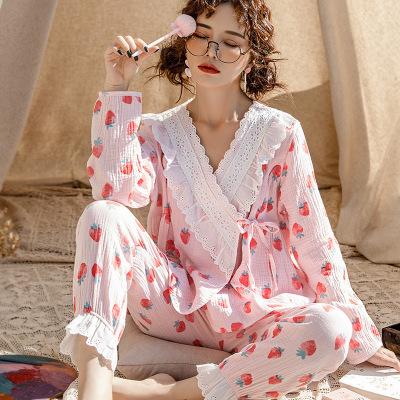 Đồ Suits [Yuezi mẹ 1516] Đồ ngủ mới cotton mùa hè cho nữ thoải mái thoáng khí gạc tháng phù hợp với
