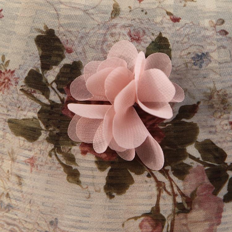 HUILUN Vải thêu Nhà máy cung cấp trực tiếp voan in 3D hoa thêu vải quần áo trẻ em phụ nữ váy hồng in
