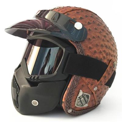 Mũ bảo hiểm xe đạp Bốn mùa mũ bảo hiểm cổ điển handmade cá tính retro Mũ bảo hiểm xe máy Harley xe m