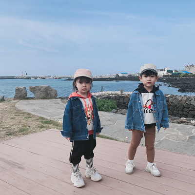 Trang phục Jean trẻ em Áo khoác trẻ em denim Quần áo trẻ em phiên bản Hàn Quốc 2019 mùa thu và mùa đ