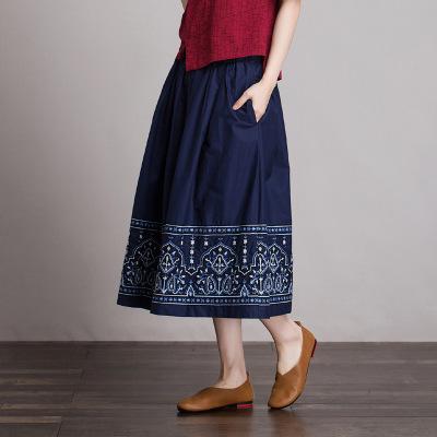 váy Bán buôn cotton thêu hoa phong cách Trung Quốc mùa xuân và mùa hè retro thun co giãn một từ váy