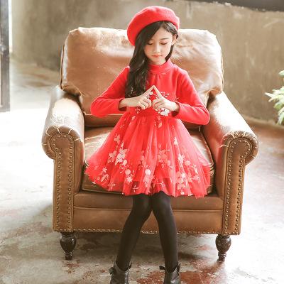 Trang phục dạ hôi trẻ em 2018 trẻ em mùa thu đông cộng với váy nhung bé gái váy lưới thêu váy công c