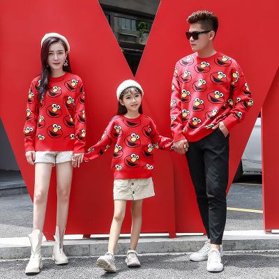 Taidieer Áo thun gia đình 19 mùa thu và mùa đông nụ cười hoa văn mới phiên bản Hàn Quốc của bộ gia đ