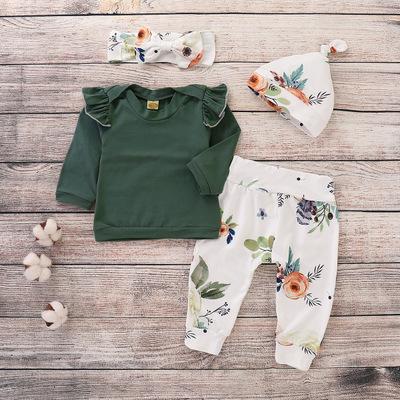 Đồ Suits trẻ em Xuyên biên giới cho ngoại thương quần áo trẻ em nổ 2018 màu xanh lá cây tay áo dài t