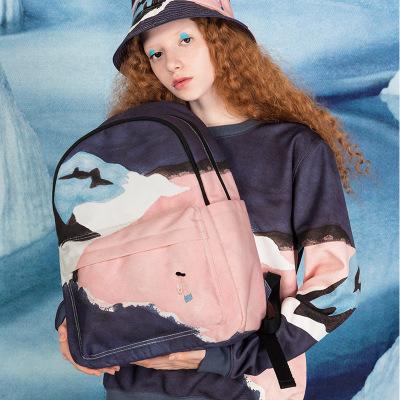 VaLi hành lý YIZISTORE phong cảnh mới ba lô vải nữ năng lực lớn học sinh trung học túi du lịch giải