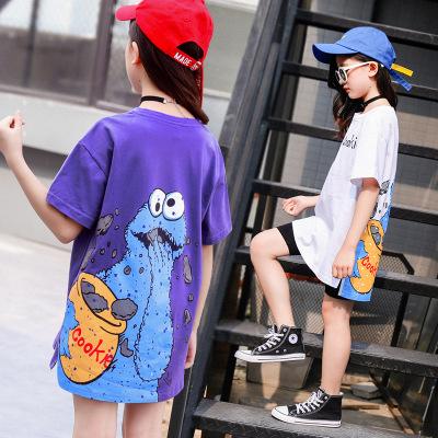 Áo thun trẻ em Mùa hè 2019 bé gái mới áo thun ngắn tay cho bé lớn phiên bản Hàn Quốc của áo sơ mi đá