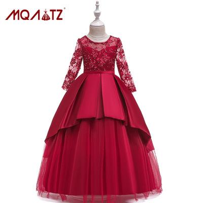 Trang phục dạ hôi trẻ em Amazon 2019 ngoại thương trẻ em mới ăn mặc váy công chúa lưới hoa cô gái vá