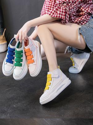 Giày trắng nữ 2019 mới mùa hè hoang dã cơ bản giày trắng đế dày nữ nhẹ cao giúp màu sắc Giày đế bệt