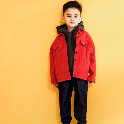 Trang phục Jean trẻ em Tide thương hiệu quần áo trẻ em chất lượng truy cập thư tiếng Anh áo khoác de
