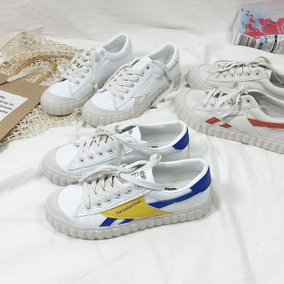 giày bệt nữ Giày đế xuồng nhỏ màu trắng nữ 2019 xuân mới giày vải sinh viên hoang dã Giày đế bằng Hà