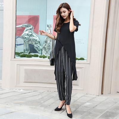 Đồ Suits Quần ống rộng tay ngắn bất thường phù hợp với thời trang Hàn Quốc Dongdaemun sọc voan nữ ha