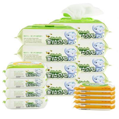 MLBE Khăn ướt Mật ong La Belle a 17 gói khăn lau trẻ em 80 rút có nắp * 8 gói + 25 viên * 4 gói + 10