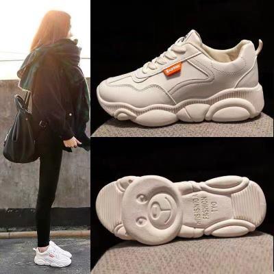 Giày trắng nữ Giày trắng nhỏ, giày gấu nữ, giày nữ hoang dã, giày cũ, giày sinh viên, giày thể thao