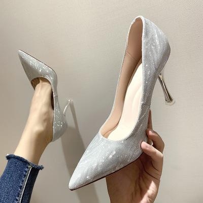 Giày GuangDong 1969-9, 7979, 5101 Giày cao gót đính sequin 2019 thời trang mới mũi nhọn của phụ nữ