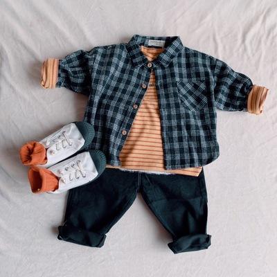 Áo Sơ-mi trẻ em Nguồn nhà sản xuất quần áo mùa thu và mùa đông trẻ em kẻ sọc mới cổ áo dày áo sơ mi