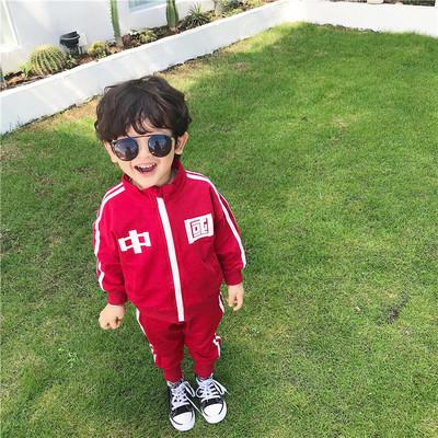 Đồ Suits trẻ em Bộ đồ trẻ em 2019CTX mùa thu mới ba màu quốc gia phù hợp với gió thể thao phù hợp vớ