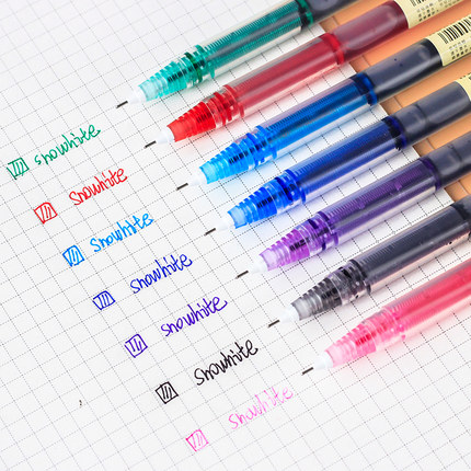 snowhite Bút nước Trắng tuyết thẳng bút bi lỏng bút màu gel học sinh khô nhanh với màu đen đỏ xanh x