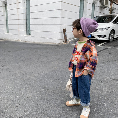 Áo Sơ-mi trẻ em Mùa thu đông 2019 Trẻ em Hàn Quốc mới mặc quần áo kẻ sọc kẻ sọc dài tay