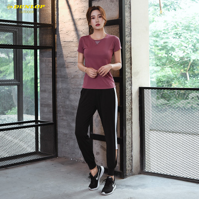 Đồ Suits Quần áo thể dục nữ chạy bộ thoáng khí Quần áo thun hai mảnh rộng kích thước lớn phù hợp với