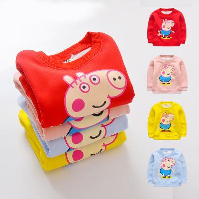 Áo thun trẻ em Mùa thu và mùa đông trẻ em hoạt hình mới 4 màu thành áo nhung cho bé trai và bé gái Á