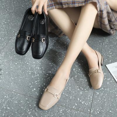 giày bệt nữ Giày đế xuồng nữ 2019 mùa thu mới mùa hè da vuông đầu thấp với chất liệu da mềm mại hoan