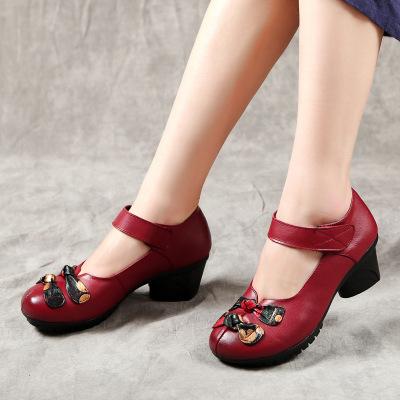 Giày da một lớp Mùa xuân 2019 giày da mới của phụ nữ giày đơn và trung cổ dày với một từ khóa giày h