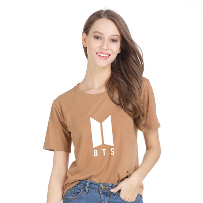 áo thun Mẫu áo nổ Amazon 2019 của phụ nữ Châu Âu và Mỹ Chữ BTS in cotton T áo sơ mi nữ tay ngắn lỏng