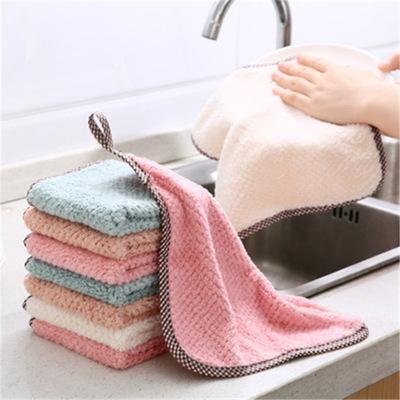 YH khăn lau tay Khăn nhung san hô có thể treo, khăn lau nhà bếp, xơ vải, giẻ thấm nước, khăn lau bát