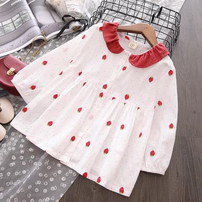 Áo Sơ-mi trẻ em Cô gái mùa thu mới dài tay cotton và vải lanh búp bê công chúa nước ngoài Phiên bản