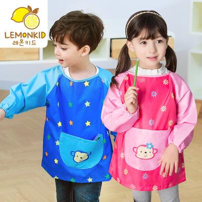 Lemonkid Áo khoác Lemonkid Hàn Quốc trẻ em mới ăn smocks phim hoạt hình môi trường không thấm nước t