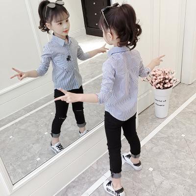 Áo Sơ-mi trẻ em Áo sơ mi nữ sọc kẻ sọc 2019 mùa thu mới phiên bản Hàn Quốc của thế hệ áo dài trẻ em