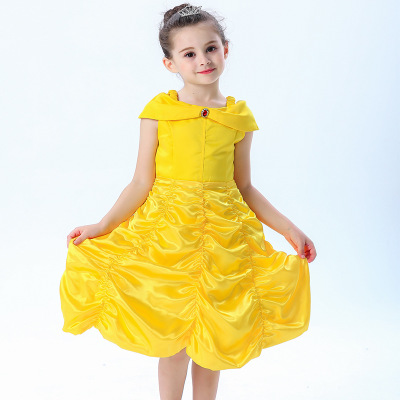 Trang phục dạ hôi trẻ em Bell Princess Dress Beauty and Beast Dress Belle Dress Baby Fluffy Girls La