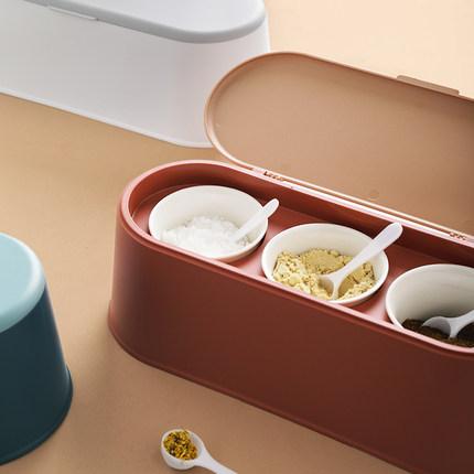 Cookever  Hũ nhựa Hộp đựng gia vị bằng nhựa nửa phòng đặt nắp có muỗng đựng gia vị bằng gốm