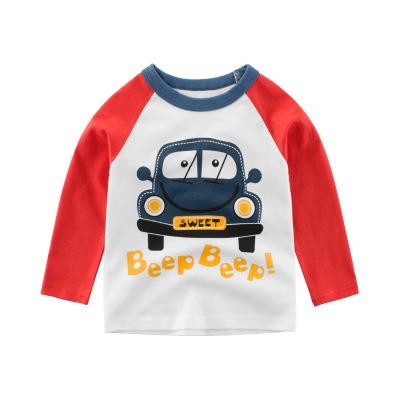 Áo thun trẻ em 27KIDS Quần áo trẻ em Hàn Quốc mùa thu mới cho bé trai Áo thun dài tay ô tô hoạt hình