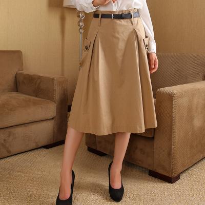 váy Váy mùa thu nữ mới Phiên bản Hàn Quốc của váy thời trang cotton phần giữa Một chiếc váy từ chuy