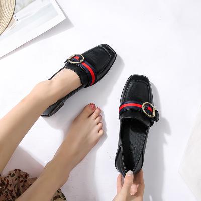 Giày GuangDong Thắt lưng cổ điển màu sắc phù hợp với giày đế bằng 2019 mới vuông đầu nông miệng đơn