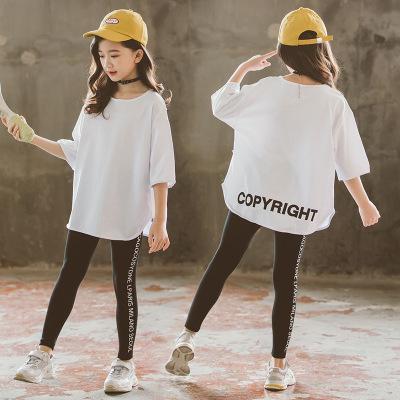 Áo thun trẻ em Mùa thu 2019 trẻ em lớn phiên bản Hàn Quốc của áo thun cotton bé gái cổ tròn chạm đáy
