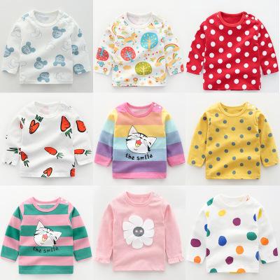 Áo thun trẻ em Quần áo trẻ em nữ cotton dài tay áo thun mùa thu và áo sơ mi mùa đông áo sơ mi bé tra
